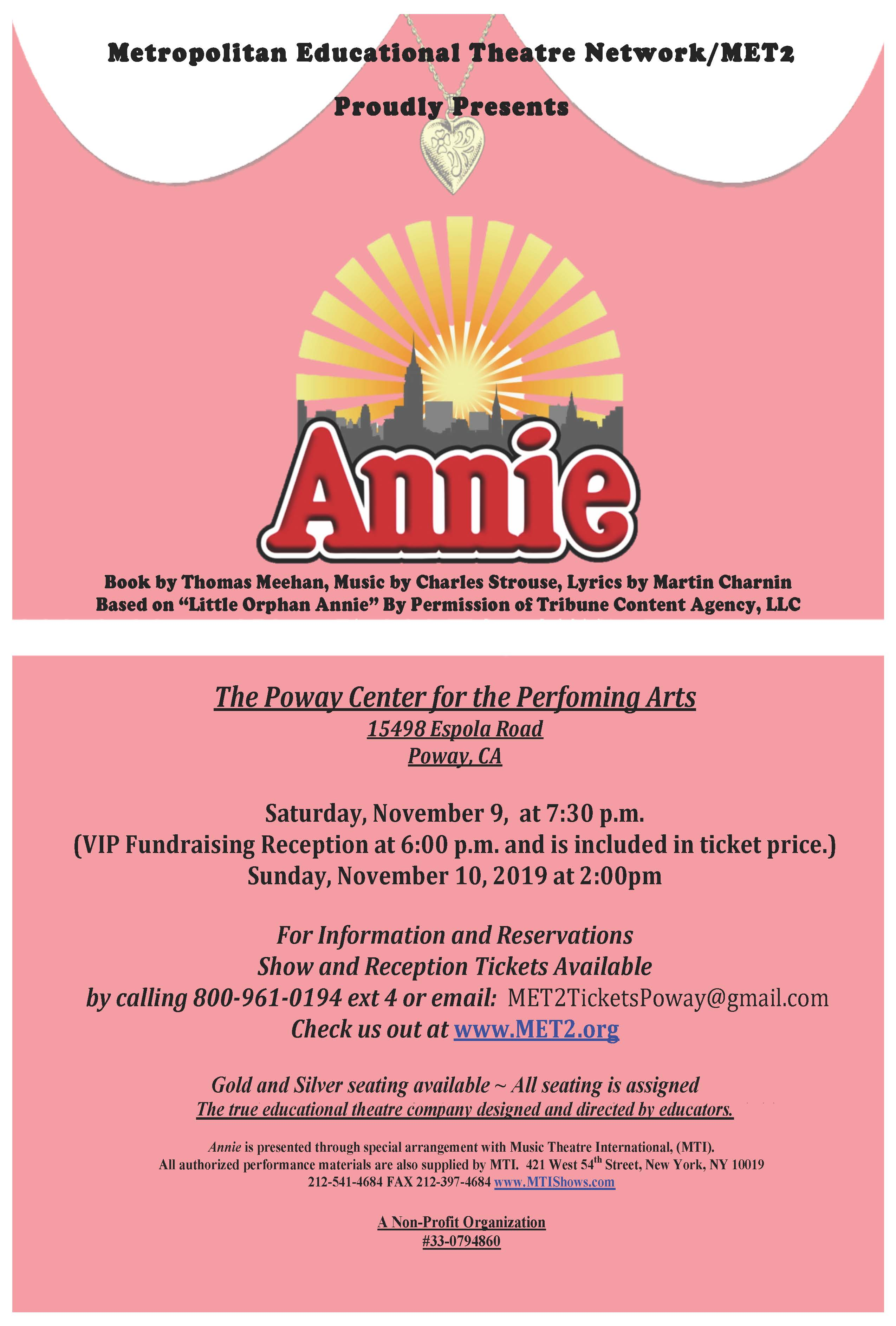 Annie Show Flyer Poway 2019