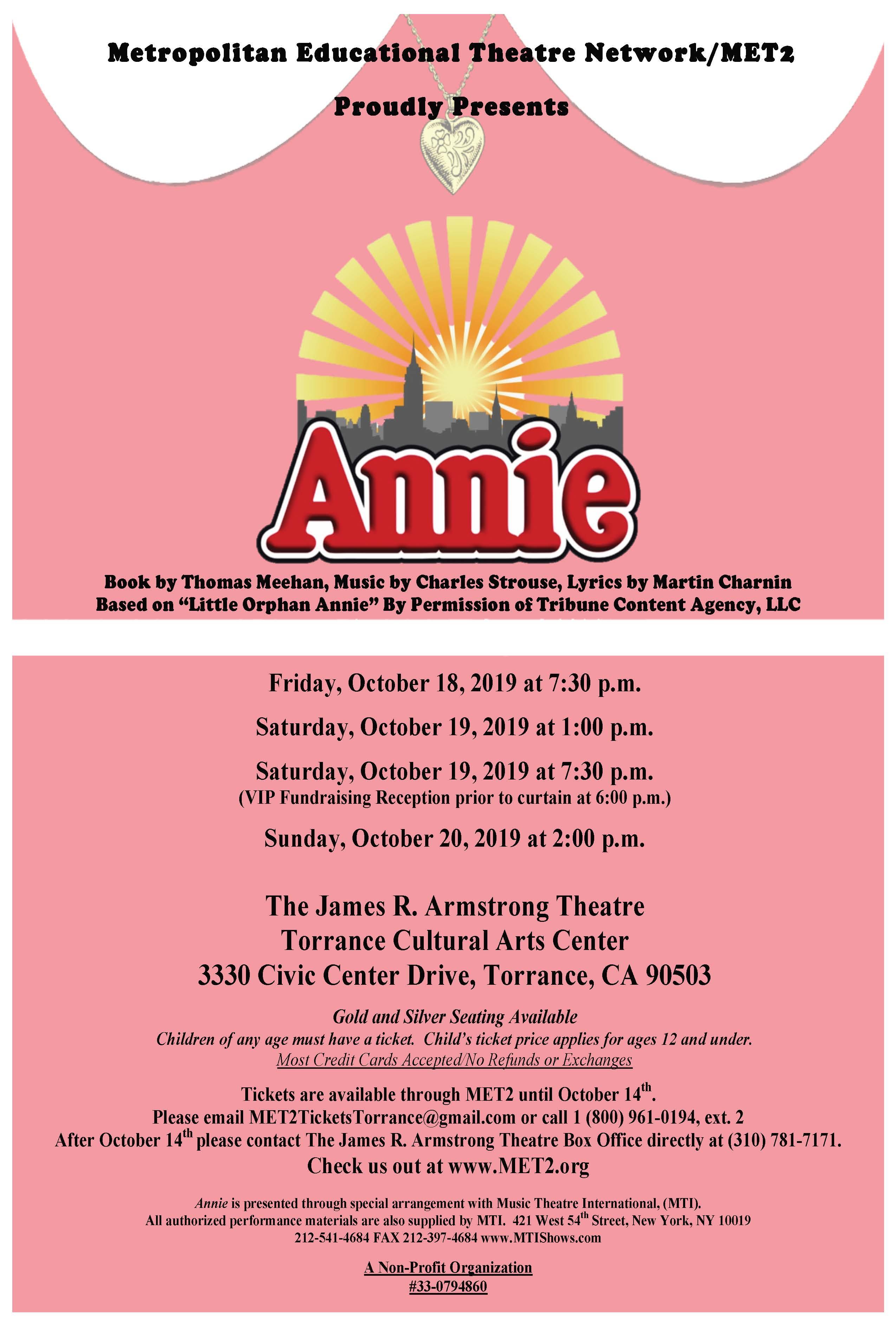 Annie Show Flyer Torrance 2019